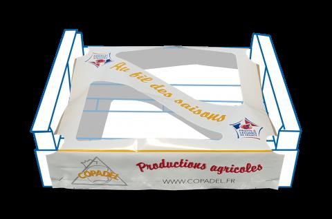 Emballage pour les plateaux bois, la fenestrelle protège et conserve vos fruits et légumes